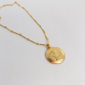 vintage style greek coin disc pendant layering